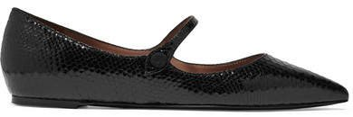 Hermione Glossed Snake-effect Leather Point-toe Flats - Black