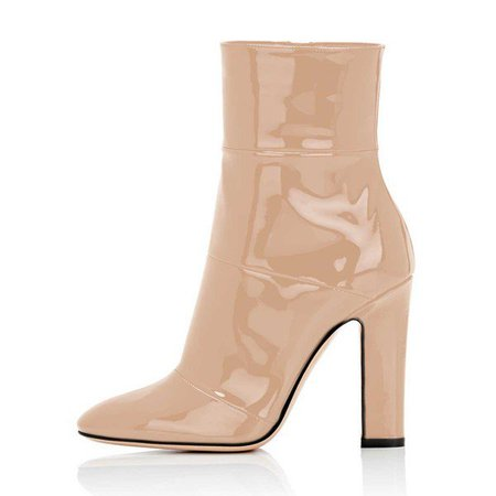 Women's Nude Chunky Heel Boots Pointy Toe Patent Leather Ankle Boots for Big day, Going out | FSJ