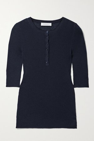 Ida Ribbed Cashmere And Silk-blend Top - Navy