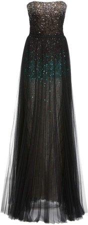 J. Mendel Ombre Glittered Tulle Gown