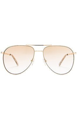 Le Specs Road Trip in Bright Gold & Tan Gradient Flash Mirror | REVOLVE