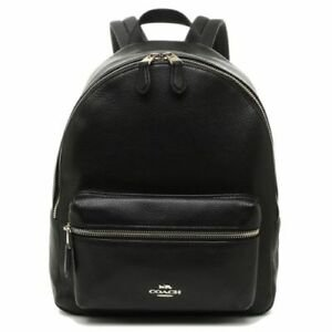 Coach F30550 Medium Charlie Backpack in Pebble Leather Black