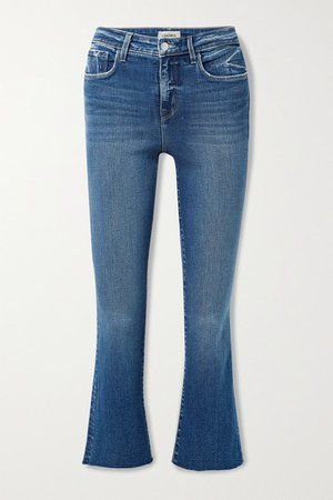 Kendra Cropped Distressed High-rise Flared Jeans - Mid denim