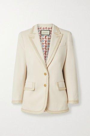 Off-white Appliquéd crepe blazer | Gucci | NET-A-PORTER