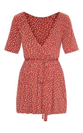 Terracotta Polka Dot Wrap Tea Dress | Dresses | PrettyLittleThing