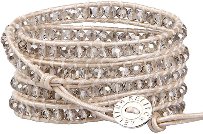 KELITCH Fashion Gray Crystal Beaded 5 Wrap Bracelet On Leather Strand Bracelets Jewelry: Jewelry
