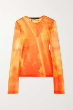 Orange Printed stretch-mesh top | Andersson Bell | NET-A-PORTER