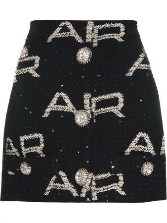 ALESSANDRA RICH Logo Tweed Skirt - Black