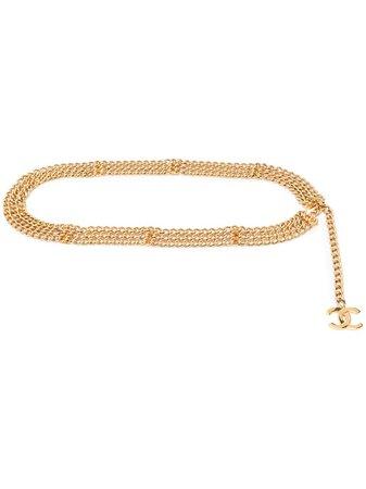 Chanel Pre-Owned 1990s CC triple chain belt gold TRIPLEBELTCHAINS - Farfetch