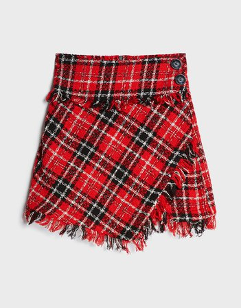 Frayed plaid skirt - Skirts - Woman | Bershka red