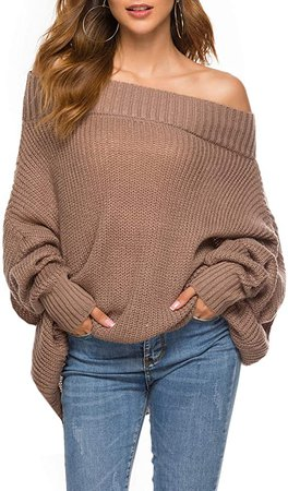 GOLDSTITCH Women's Off Shoulder Batwing Sleeve Loose Oversized Pullover Sweater Knit Jumper Khaki at Amazon Women's Clothing store