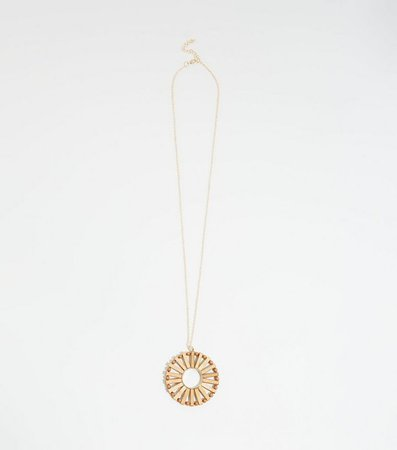 Brown Round Wood Pendant Long Necklace | New Look