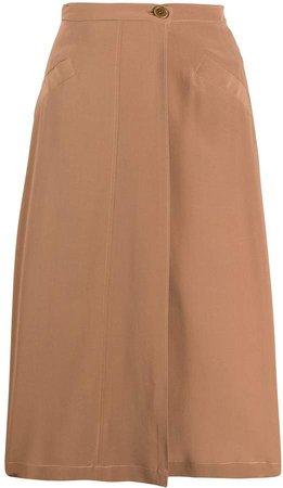 high-waisted silk skirt