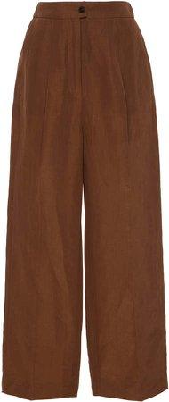Pleated Linen Blend Wide Leg Trousers