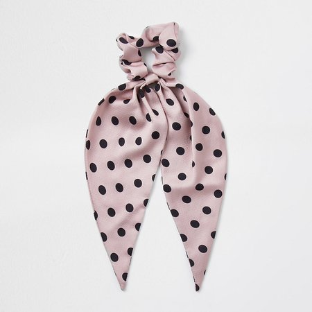 Pink spot print scarf scrunchie | River Island