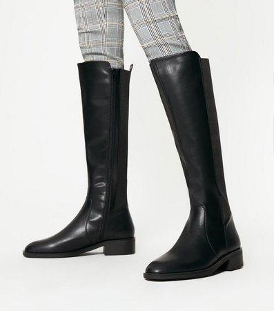 Black Elasticated Knee High Boots | New Look