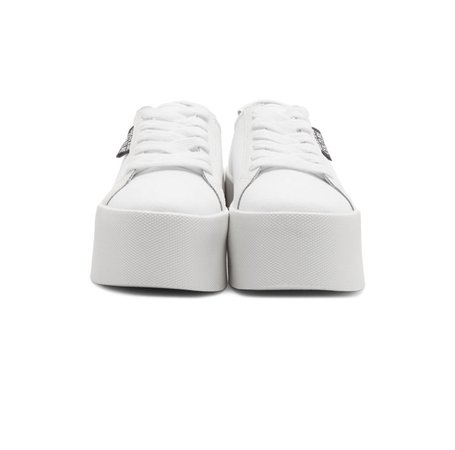 0 Versace Jeans Couture White Canvas Platform Sneakers