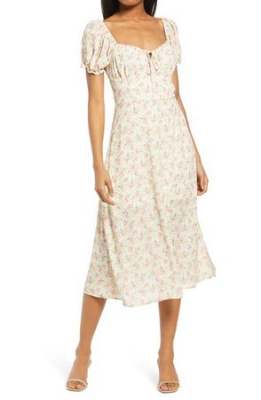 Row A Puff Sleeve Midi Dress | Nordstrom