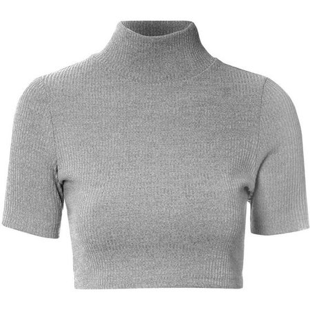 Grey Marl Turtle Neck Crop Top