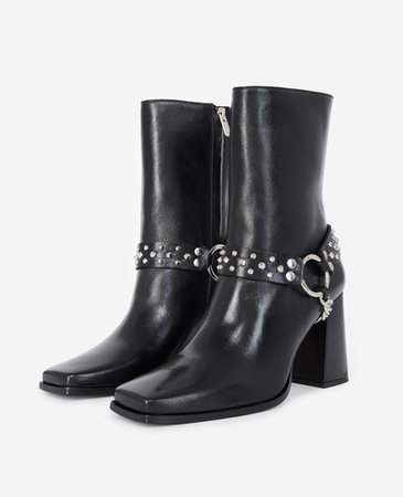 Heeled black boots, leather w/removable jewel | The Kooples
