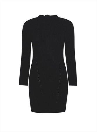 PETITE Black Bow Back Knitted Dress | Miss Selfridge