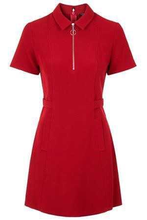 1960s-style zip collar shift dress at Topshop