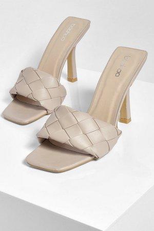 Woven Strap Square Toe Stiletto Mules | boohoo nude