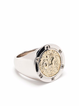 Tom Wood Coin 9kt yellow gold and sterling silver diamond ring - FARFETCH