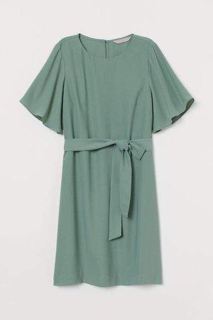 Tie Belt Dress - Green