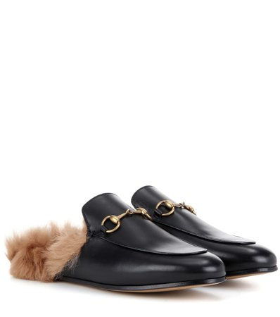 Princetown Fur-Lined Leather Slippers   Gucci - mytheresa