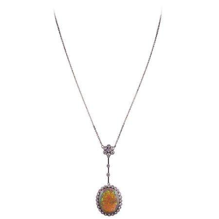 Edwardian Opal Diamond Gold Platinum Drop Necklace