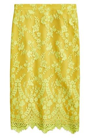 J.Crew Chantilly Lace Pencil Skirt yellow