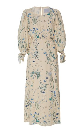 Luisa Beccaria Smocked Floral Midi Dress