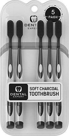 Amazon.com: 5 Pack Charcoal Toothbrush [GENTLE SOFT] Slim Teeth Head Whitening Brush for Adults & Children - Ultra Soft Medium Tip Bristles: Beauty
