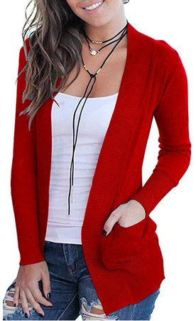 VOIANLIMO Women's Open Front Casual Long Sleeve Knit Classic Sweaters Cardigan with Pockets at Amazon Women's Clothing store
