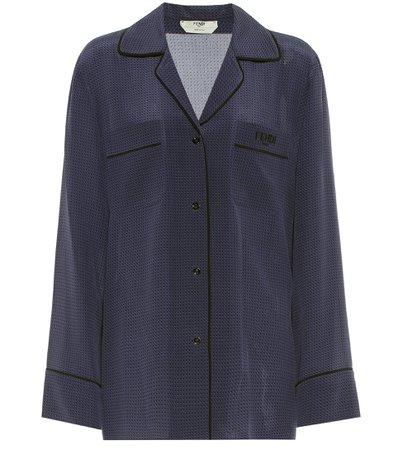 Fendi, Polka-dot silk blouse