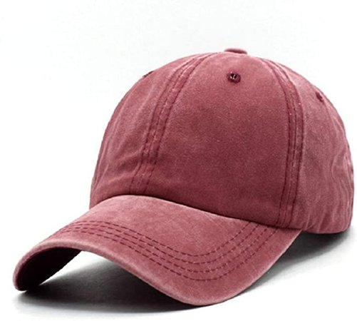Unisex Vintage Washed Distressed Baseball Cap Twill Adjustable Dad Hat, C-burgundy, One Size at Amazon Women's Clothing store