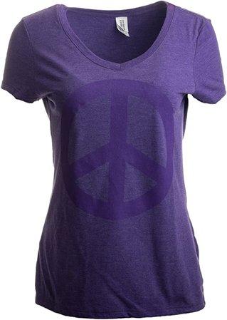 Amazon.com: Peace Sign | Cute, Cool Retro Hippy Positive Happy Yoga V-Neck T-Shirt for Women-(Vneck,S): Clothing
