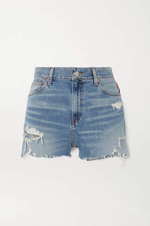 Denimist - Karen Distressed Denim Shorts - Mid denim