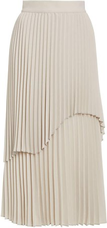Beaufille Janco Asymmetric Plisse Midi Skirt