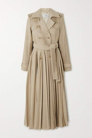 Stein Pleated Cotton-poplin Trench Coat - Beige