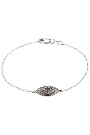 18K White Gold Wisdom Bracelet with Diamonds and Sapphires Gr. One Size