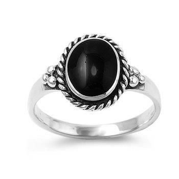 Rhodium Plated Sterling Silver Wedding & Engagement Ring Black Onyx Ladies Ring 12MM ( Size 5 to 9)