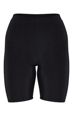 Bella Black Slinky High Waisted Bike Shorts | PrettyLittleThing USA