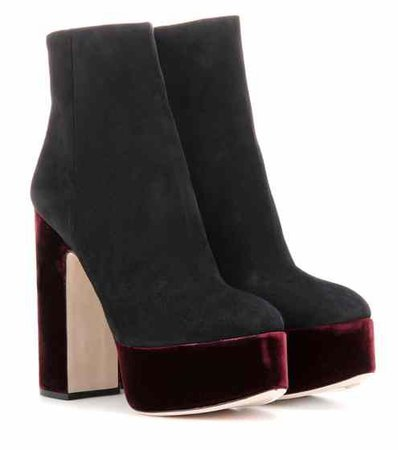 Suede and velvet platform ankle boots