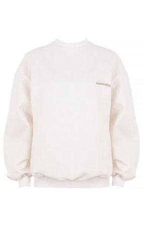 Clothing : Tops : 'Tommy' Off White Oversized Crewneck Sweatshirt