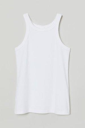 Ribbed Tank Top - White - Ladies | H&M US