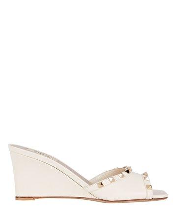 Valentino Garavani Rockstud Leather Wedge Sandals | INTERMIX®