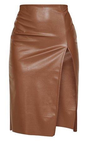 Chocolate Faux Leather Split Detail Midi Skirt   PrettyLittleThing USA