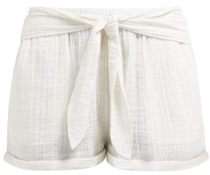 Anaak - Maithili Tie Waist Cotton Shorts - Womens - Ivory